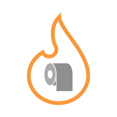 toilet paper art: Illustration of an isolated  line art flame icon with a toilet paper roll Illustration