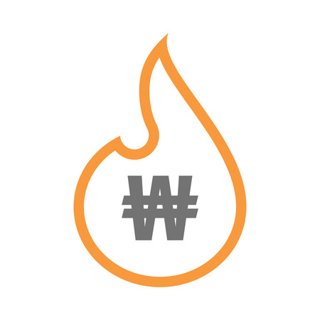 money to burn: Illustration of an isolated  line art flame icon with a won currency sign