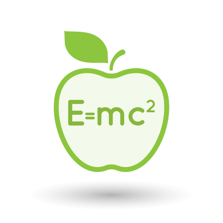 Illustration of an isolated  line art apple icon with the Theory of Relativity formula