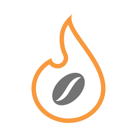 Illustration of an isolated  line art flame icon with a coffee bean