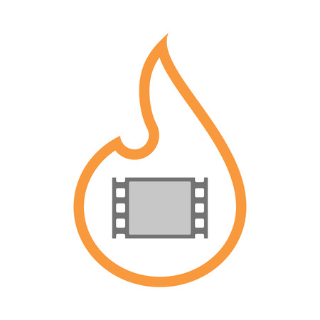 documentary: Illustration of an isolated  line art flame icon with a film photogram Illustration