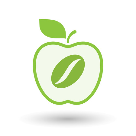 Illustration of an isolated  line art apple icon with a coffee bean