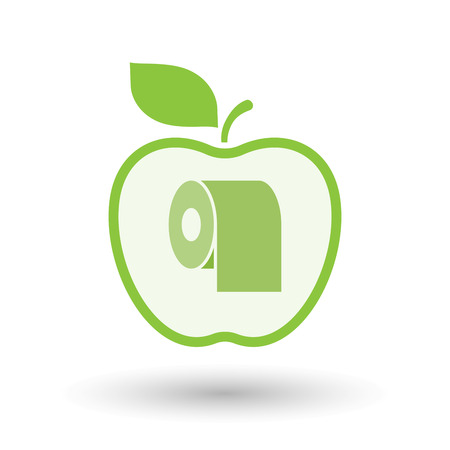 toilet paper art: Illustration of an isolated  line art apple icon with a toilet paper roll Illustration