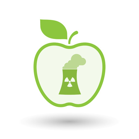 Illustration of an isolated  line art apple icon with a nuclear power station Illustration