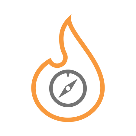 Illustration of an isolated  line art flame icon with a compass Illustration