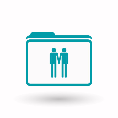 office romance: Illustration of an isolated  line art  folder icon with a gay couple pictogram