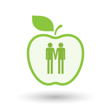 Illustration of an isolated  line art apple icon with a gay couple pictogram
