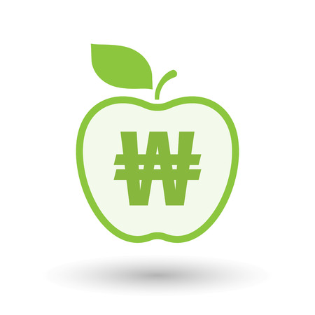 won: Illustration of an isolated  line art apple icon with a won currency sign Illustration