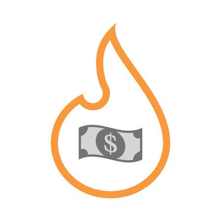 Illustration eines isolierten Linie Kunst Flamme Symbol mit einem Dollar-Banknote Vektorgrafik