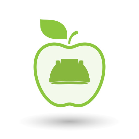 Illustration of an isolated  line art apple icon with a work helmet