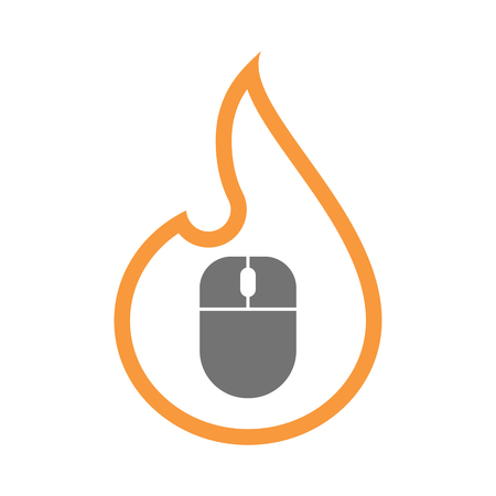 Illustration of an isolated  line art flame icon with a wireless mouse