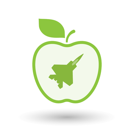 Illustration of an isolated  line art apple icon with a combat plane Illustration