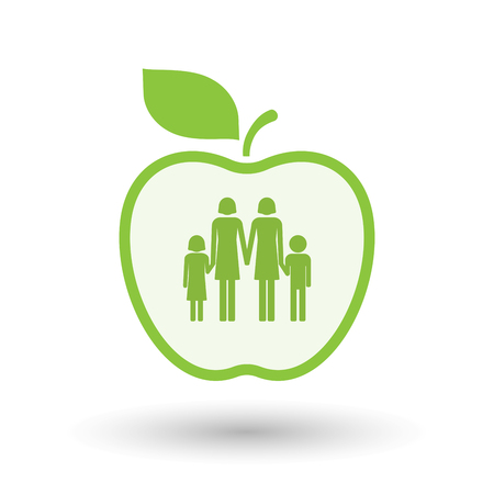 lesbian: Illustration of an isolated  line art apple icon with a lesbian parents family pictogram