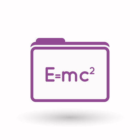 relativity: Illustration of an isolated  line art  folder icon with the Theory of Relativity formula Illustration
