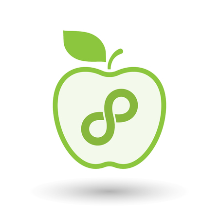 mobius: Illustration of an isolated  line art apple icon with an infinite sign Illustration
