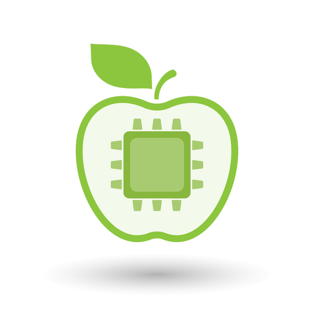 Illustration of an isolated  line art apple icon with a cpu