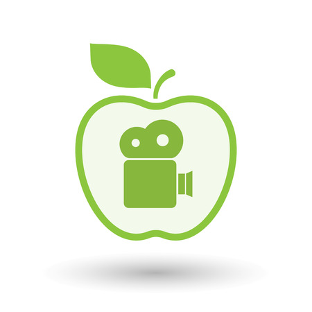 Illustration of an isolated  line art apple icon with a film camera