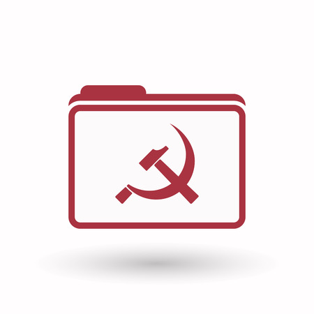 communist: Illustration of an isolated  line art  folder icon with  the communist symbol