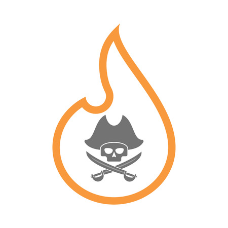 Illustration of an isolated  line art flame icon with a pirate skull