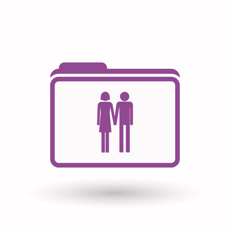heterosexual couple: Illustration of an isolated  line art  folder icon with a heterosexual couple pictogram Illustration