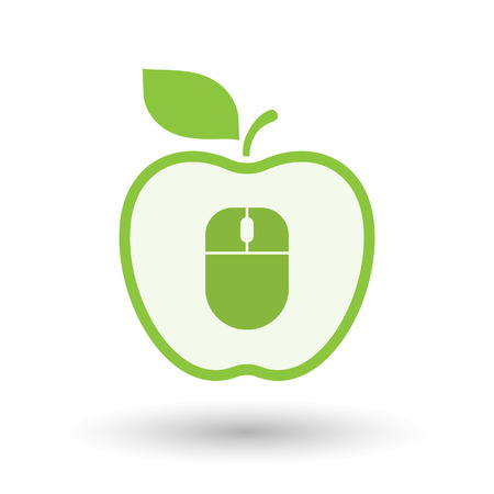 Illustration of an isolated  line art apple icon with a wireless mouse