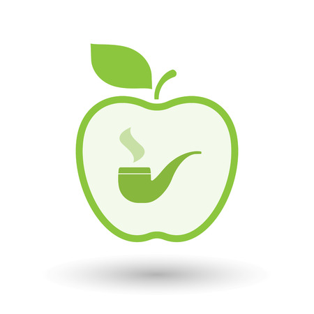 food poison: Illustration of an isolated  line art apple icon with a smoking pipe