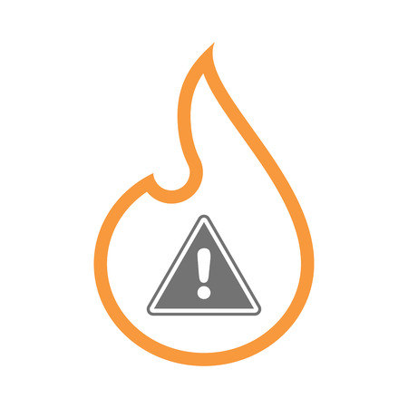 caution: Illustration of an isolated  line art flame icon with a warning signal