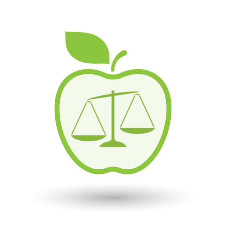 Illustration of an isolated  line art apple icon with  an unbalanced weight scale Illustration