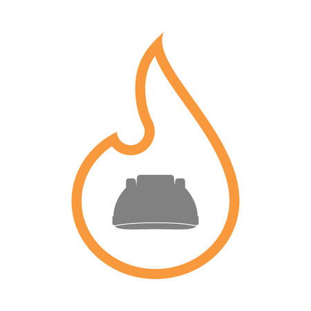 inferno: Illustration of an isolated  line art flame icon with a work helmet