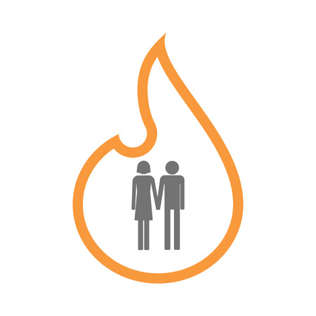 heterosexual: Illustration of an isolated  line art flame icon with a heterosexual couple pictogram