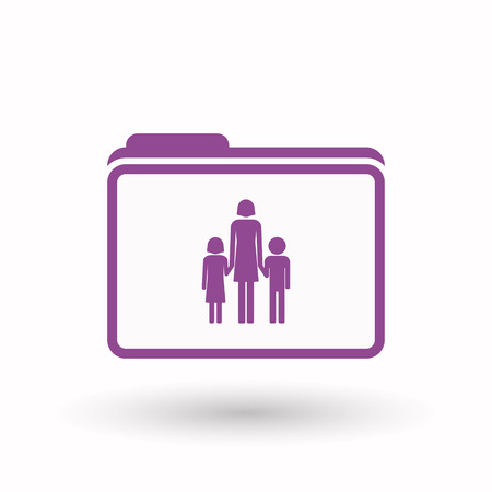 single parent family: Illustration of an isolated  line art  folder icon with a female single parent family pictogram