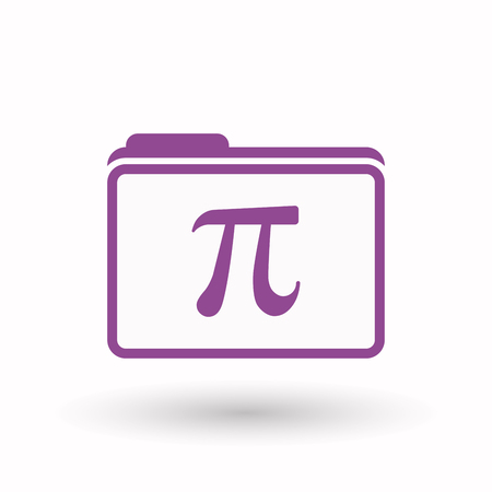 constant: Illustration of an isolated  line art  folder icon with the number pi symbol