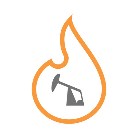 Illustration of an isolated  line art flame icon with a horsehead pump Illustration