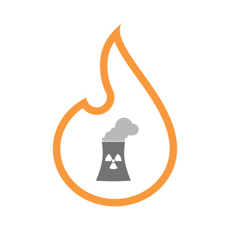 Illustration of an isolated  line art flame icon with a nuclear power station