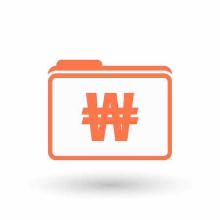 won: Illustration of an isolated  line art  folder icon with a won currency sign Illustration