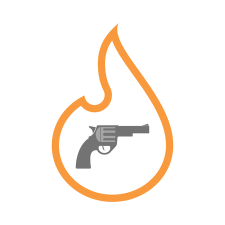 Illustration of an isolated  line art flame icon with a gun Illustration
