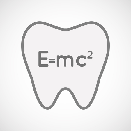 relativity: Illustration of an isolated  line art tooth icon with the Theory of Relativity formula