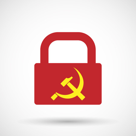 Illustration of an isolated lock pad icon with  the communist symbol Illustration