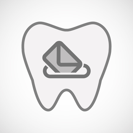 elect: Illustration of an isolated  line art tooth icon with  a ballot box Illustration