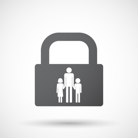 single parent: Illustration of an isolated lock pad icon with a male single parent family pictogram Illustration