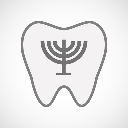 chandelier isolated: Illustration of an isolated  line art tooth icon with a chandelier