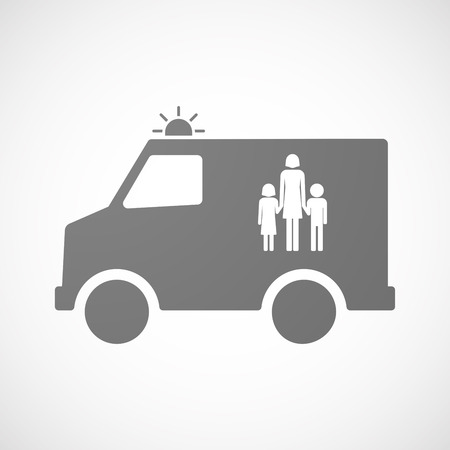 single parent: Illustration of an isolated ambulance icon with a female single parent family pictogram