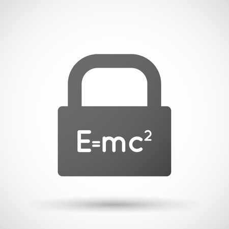relativity: Illustration of an isolated lock pad icon with the Theory of Relativity formula
