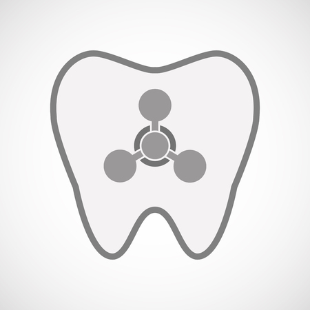 chemical weapons: Illustration of an isolated  line art tooth icon with a chemical weapon sign
