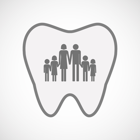 large family: Illustration of an isolated  line art tooth icon with a large family  pictogram