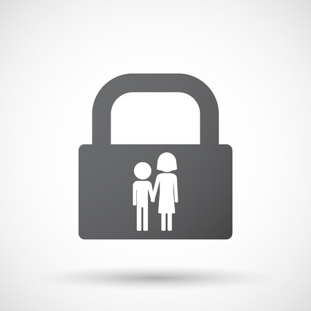 orphan: Illustration of an isolated lock pad icon with a childhood pictogram