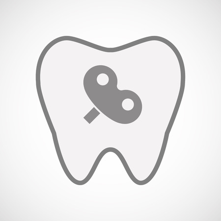 crank: Illustration of an isolated  line art tooth icon with a toy crank Illustration