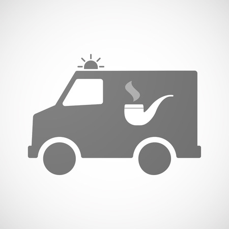 pipe smoking: Illustration of an isolated ambulance icon with a smoking pipe
