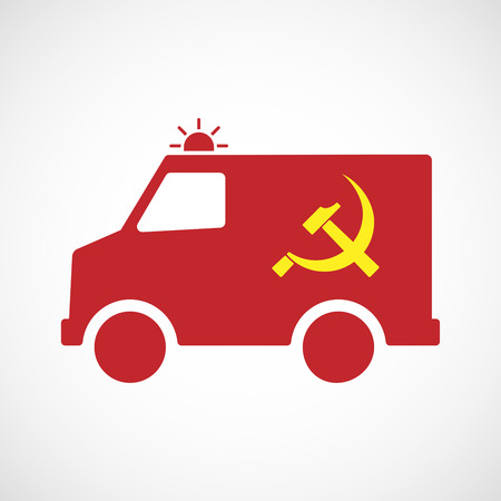 socialism: Illustration of an isolated ambulance icon with  the communist symbol