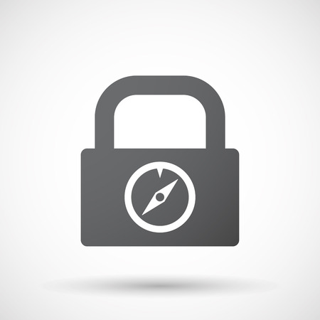 longitude: Illustration of an isolated lock pad icon with a compass